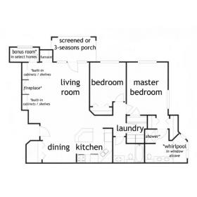 2 bedroom 2 bath ranch style apartment floor plan - click to view