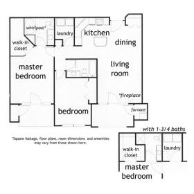 Grayson: 2 bed 2 bath apartment - click for floorplan
