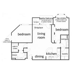Madison WI  2 bed 2 bath apartment - click for floor plan