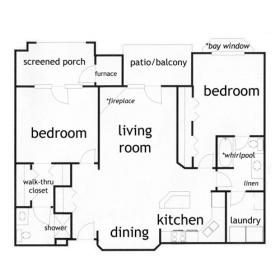 2 bed, 2 bath apartment in Madison - click for floor plan