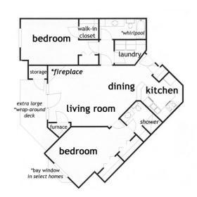 2 Bedroom, 2 bath apartment ranch - click for floor plan