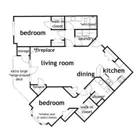 2 Bedroom 2 Bath Ranch Apartment - click for floor plan