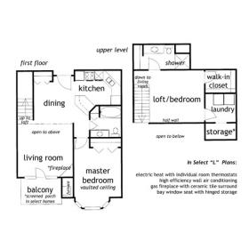 2 bedroom loft apartment floor plan - The Landon