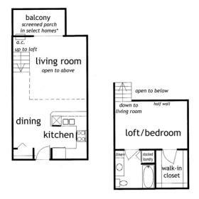 1 Bedroom Loft Apartment Floorplan